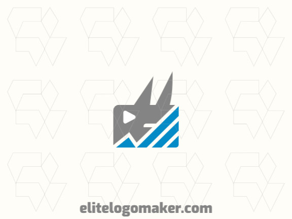 Create a vector logo for your company in the shape of rhinoceros with a minimalist style, the colors used were blue and grey.
