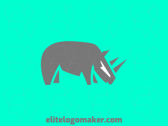 Vector logo in the shape of rhinoceros with minimalist design and grey color.