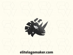 Vector logo in the shape of rhinoceros with abstract design with grey and black colors.