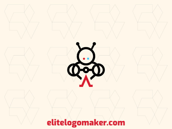 Minimalist logo with a refined design forming a robot with black and red colors.