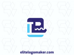 Create a logo for your company in the shape of a robot with a simple style and blue color.