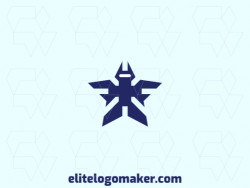Professional logo in the shape of a robot with an abstract style, the color used was blue.