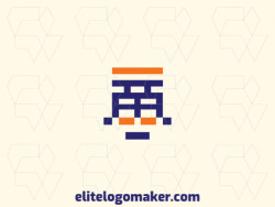 Vector logo in the shape of a robot with a simple style, with blue and orange colors.
