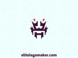 Vector logo in the shape of a robot with abstract design, with red and purple colors.