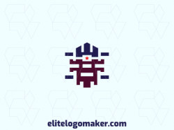 Customizable logo in the shape of a robot, with a symmetric style, the colors used was blue and brown.