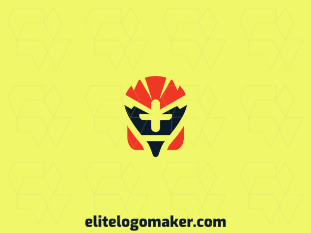 Customizable logo in the shape of a robot with an abstract style, the colors used was red and black.