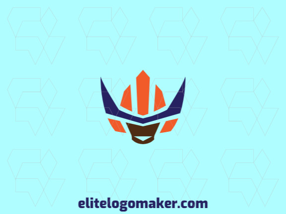 Vector logo in the shape of a robot with symmetric design with blue, brown, and orange colors.