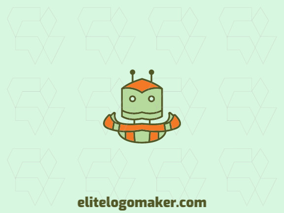 Stylized logo design created with abstract shapes forming a robot with orange and green colors.