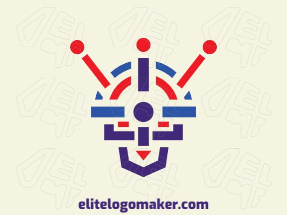 Logotipo adequado para várias empresas com a ilustração de um robô com design único e estilo simétrico.