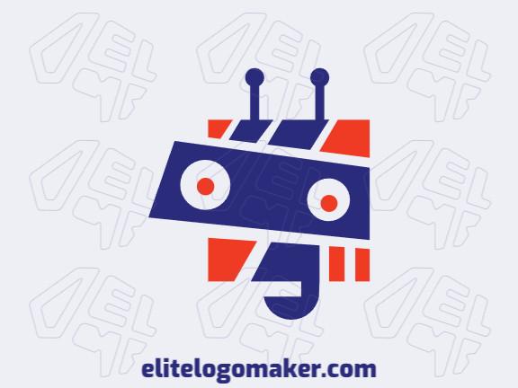Logotipo customizável composto por formas sólidas e estilo abstrato formando um robô com cores azul e laranja.