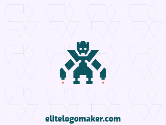 Mascot logo with the shape of a robot with blue and orange colors.