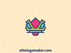 Create your own logo in the shape of a robot with abstract style and green, blue, and pink colors.
