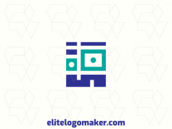 Simple logo created with abstract shapes forming a robot with green and blue colors
