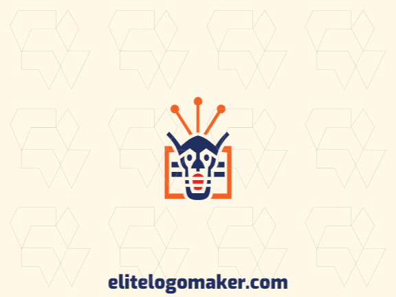 Vector logo in the shape of a robot head combined with a square with a symmetry design, the colors used are blue, red, and orange.
