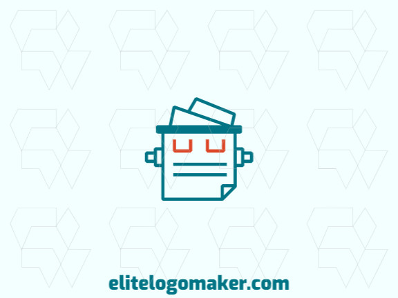Ready-made logo in the shape of a robot combined with a document formed of the original design and monoline style, all texts are customizable.