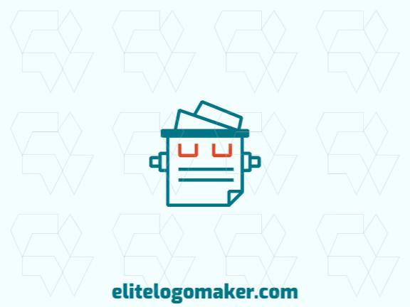 Logotipo moderno grátis com a forma de um robô combinado com um documento com design profissional e estilo monoline.