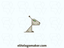 Mascot logo design in the shape of a robot dog composed of stylized shapes with green, brown, and beige colors.