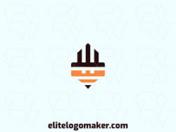 Modern logo in the shape of a robot combined with a pencil, with professional design and symmetric style.