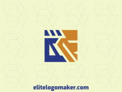 Create a logo for your company in the shape of a robot with an abstract style with blue and orange colors.
