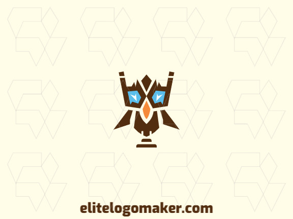 Logo available for sale in the shape of a robotic owl with symmetric design.