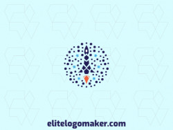 Abstract logo with solid shapes forming a rocket with a refined design with blue and orange colors.