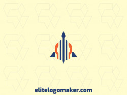 Create a logo for your company in the shape of a rocket with an abstract style.