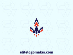 Create your own logo in the shape of a rocket with abstract style, with blue and orange colors.