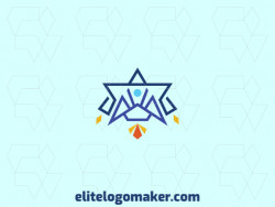 Logo design in the shape of a rocket combined with a star with symmetry design and orange, blue, and yellow colors.