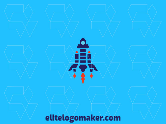 Create an ideal logo for your business in the shape of a rocket with abstract style and customizable colors.