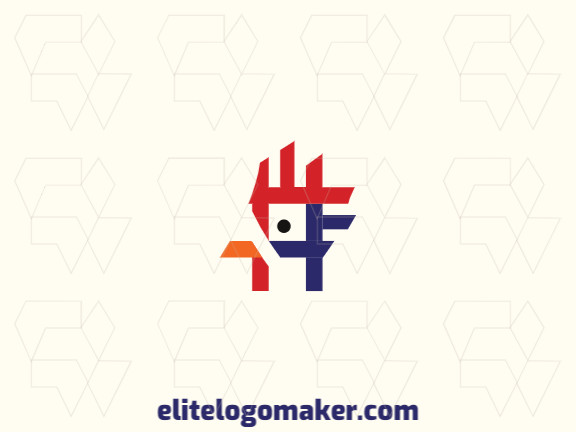 Minimalist logo with a refined design forming a rooster, the colors used was blue, orange, and red.