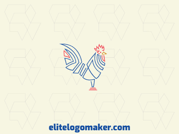 Logo design ideal for different businesses in the shape of a rooster with creative design and monoline style.