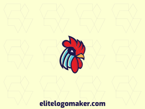 Simple logo design composed of abstract shapes forming a rooster head with yellow, blue, and red colors.