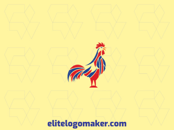 Logo ready, available in the shape of a rooster with mosaic design with yellow, red, and blue colors.