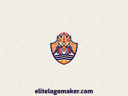 Modern logo in the shape of a rooster combined with a shield with professional design and abstract style.