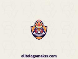 Logotipo abstrato (mascote) com a forma de um galo mesclado com um escudo, composto por formas abstratas e design refinado, as cores utilizadas no logotipo foi vermelho, azul, laranja, e amarelo.