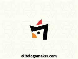 Creative logo in the shape of a rooster, with a refined design and simple style.