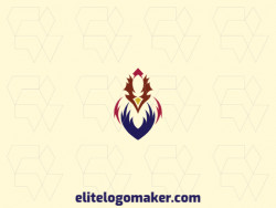 Mascot logo design in the shape of a rooster composed of abstracts shapes with yellow, red, and blue colors.
