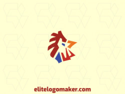 Abstract company logo in the shape of a rooster composed of abstracts shapes with red, blue, and yellow colors.