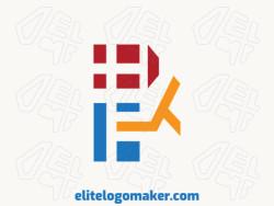Logotipo simples criado com formas abstratas formando um galo com as cores amarelo, vermelho, e azul.