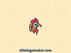 Elegant logo with abstract shapes forming a rooster with stylized design with red, yellow, and blue colors.