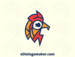 Logotipo adequado para várias empresas com a ilustração de um galo com design único e estilo criativo.