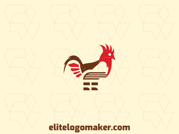 Animal logo design with the shape of a rooster combined with a book with brown and red colors.