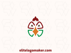 Double meaning logo design created with abstract shapes forming a rooster combined with a four leaf clover with green, yellow, and red colors.