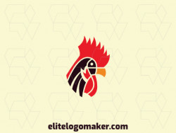 Elegant logo with abstract shapes forming a rooster head with a geometric design with red, black, and yellow colors.