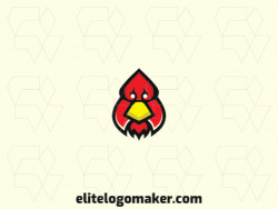 Animal logo in the shape of a stylized rooster head combined with a suit of spades with black, yellow and red colors.