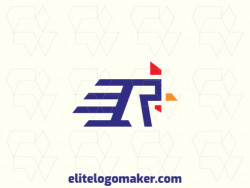 """Create a logo for your company in the shape of a rooster combined with a letter """"R"""", with a minimalist style with blue, red, and yellow colors."""