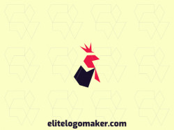 Animal logo in the shape of a rooster composed of abstracts shapes and minimalist style with black and red colors.