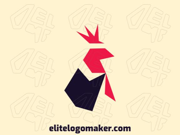 Logotipo criado com estilo minimalista formando um galo com as cores preto e vermelho.