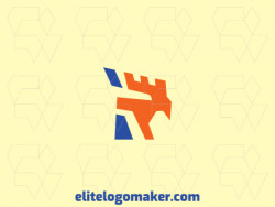 """Simple logo with the shape of an eagle combined with a letter """"R"""" with blue and orange colors."""