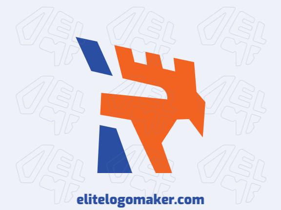 Logotipo adequado para várias empresas com a ilustração de uma águia com design único e estilo abstrato.